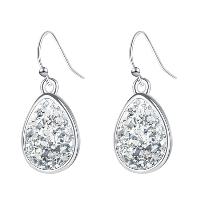 Sparkling White Druzy Stone Fashion Earrings