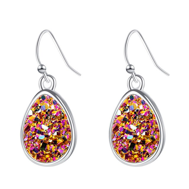Sparkling Orange Druzy Stone Fashion Earrings