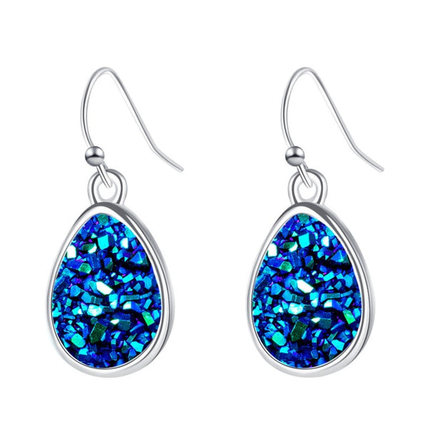 Sparkling Blue Druzy Stone Fashion Earrings