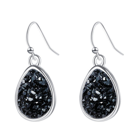 Sparkling Black Druzy Stone Fashion Earrings