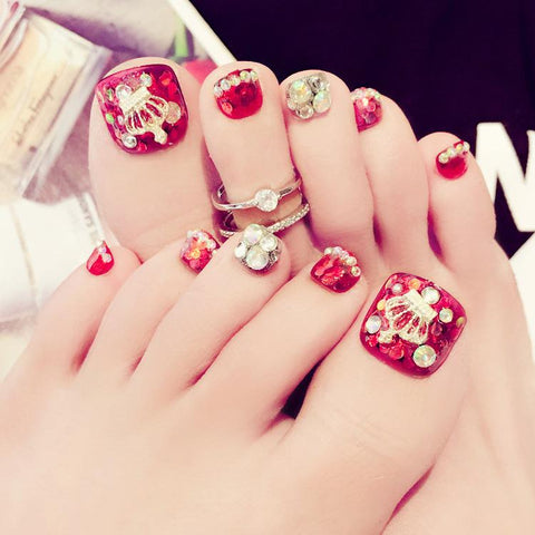 Red Rhinestone Accented False Toenails