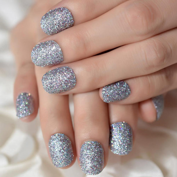Short Silver Glitter Press On Nails