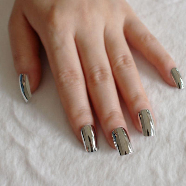 Square Silver Mirrored Press On Nails