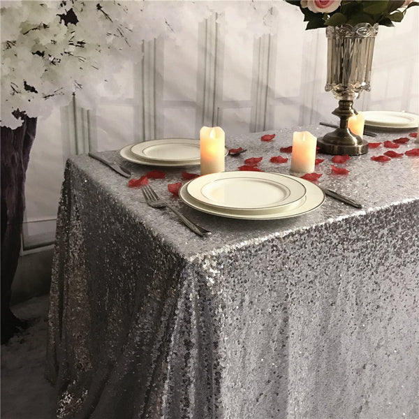 Silver Sequin Rectangular Tablecloth