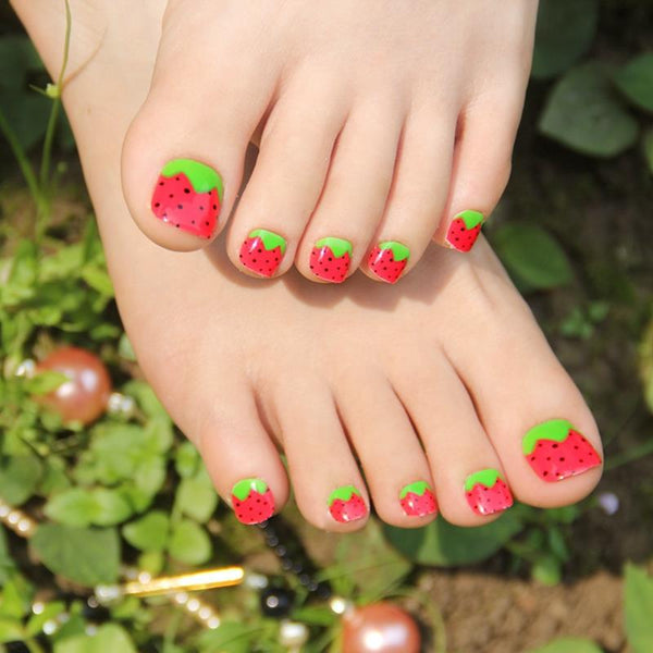 Strawberry Print Press On Toenails