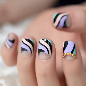 Short Purple & Teal Striped Nails