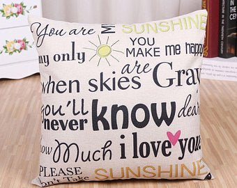 """You Are My Sunshine"" Pillow Cover"