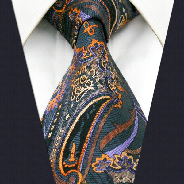 Colorful Orange Paisley Tie