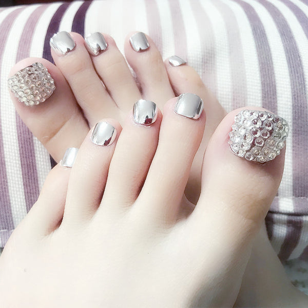 Silver Mirrored Rhinestone Press On Toenails
