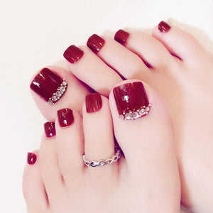 Red Crystal Accented Press On Toenails