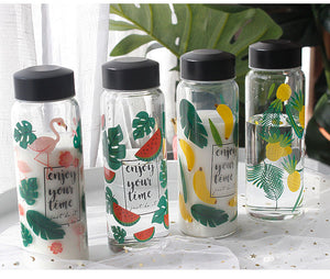 "Tropical Print ""Enjoy Your Time"" Water Bottle"