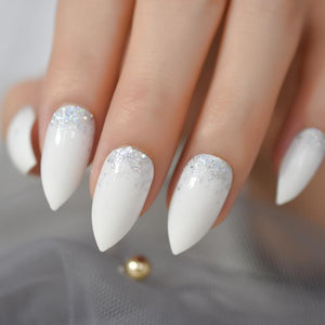 Silver Glitter Embellished White Stiletto Nails