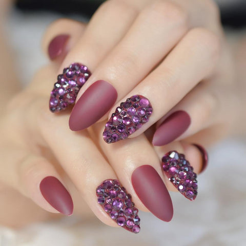 Wine Red Crystal Accent Stiletto Nails