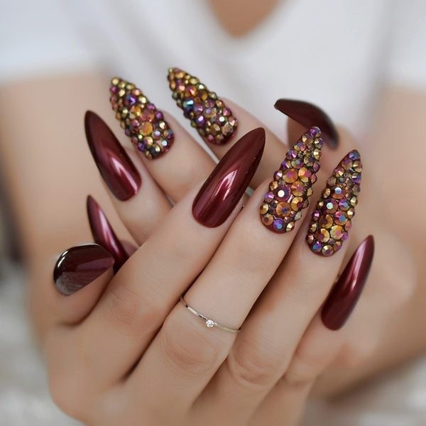 Rhinestone Accented Wine Red Stiletto Nails