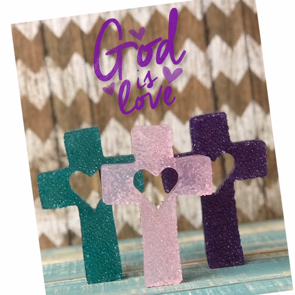Cross with Heart Light Colored