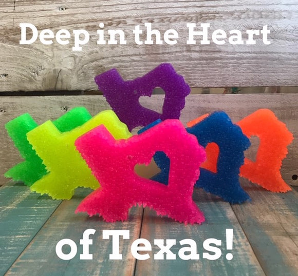 Texas With Mini Heart Neon Colored
