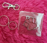 Personalised Pink Shiny Paw Nametag for Dogs - Silver