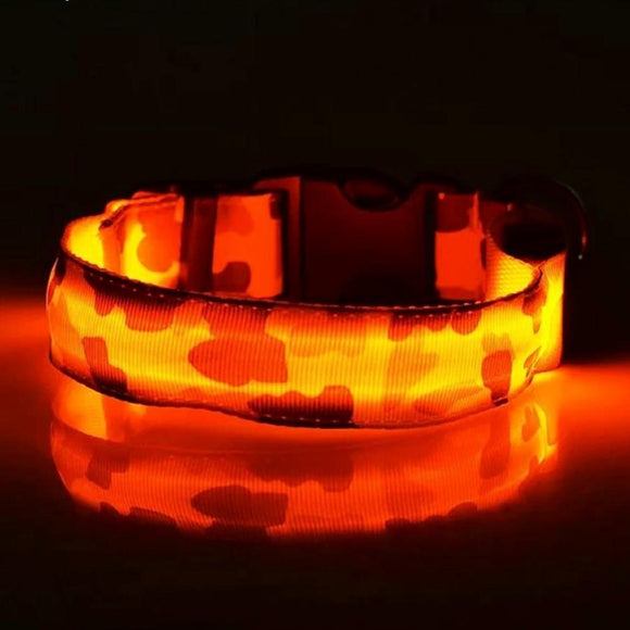 Camouflage Pattern LED Collar - Orange