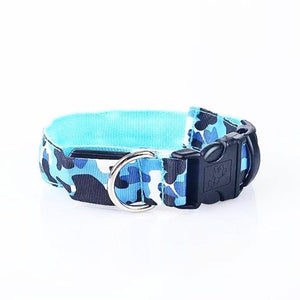 Camouflage Pattern LED Collar - Blue