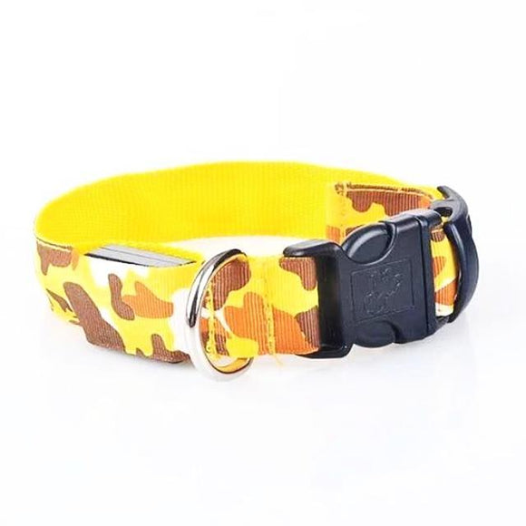 Camouflage Pattern LED Collar - Yellow