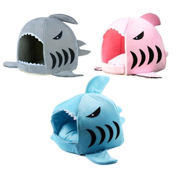 Shark Velvet Dog Cat Sleeping Bed