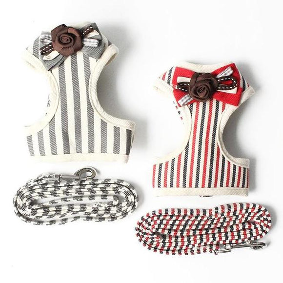 Stripe Pattern Dog Harness Lead with a Bow Tie (2 colours)