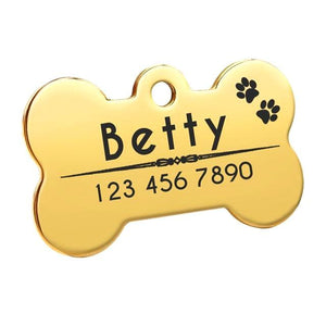 Personalised Dog Bone Nametag for Dogs - Yellow Gold