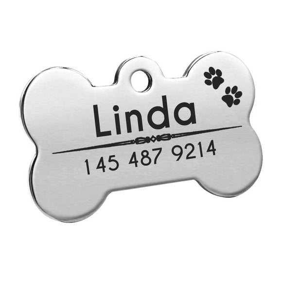 Personalised Dog Bone Nametag for Dogs - Silver