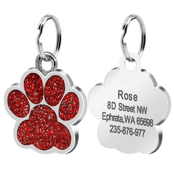 Personalised Red Paw Nametag for Dogs - Silver
