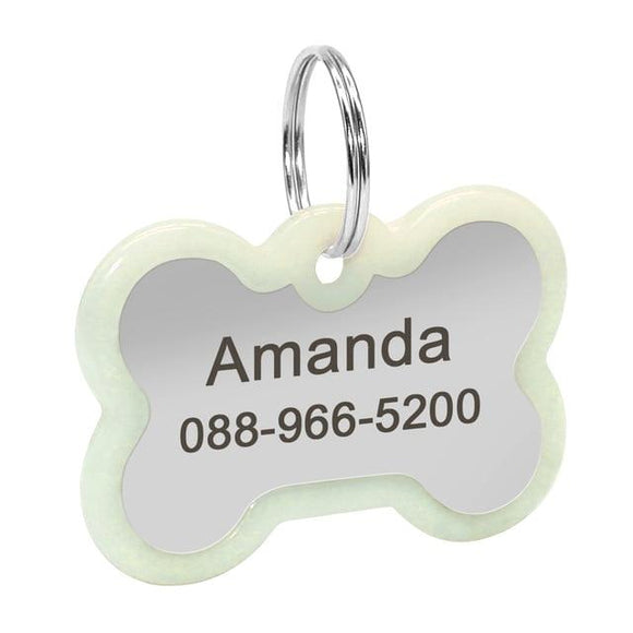 Personalised Simple Dog Bone Nametag for Dogs - Silver