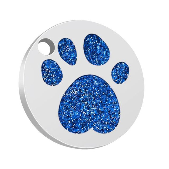 Personalised Blue Shiny Paw Nametag for Dogs - Silver