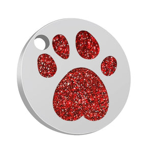 Personalised Red Shiny Paw Nametag for Dogs - Silver