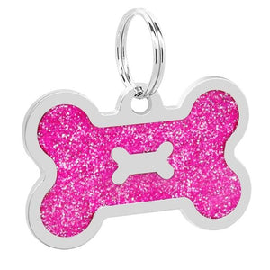Personalised Pink Shiny Dog Bone Nametag for Dogs - Silver