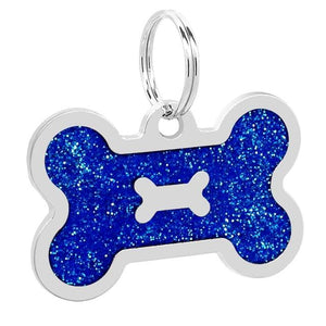 Personalised Blue Shiny Dog Bone Nametag for Dogs - Silver