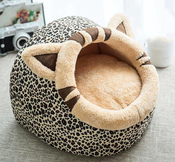 Lovely Cat Dog Bed - Leopard Print