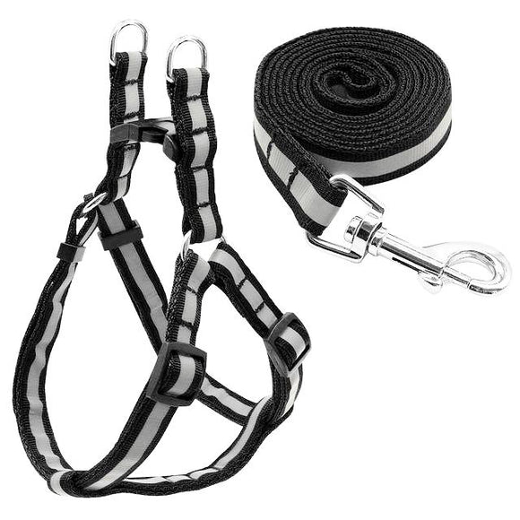 Nylon Reflective Dog Harness and Leash Set - Black