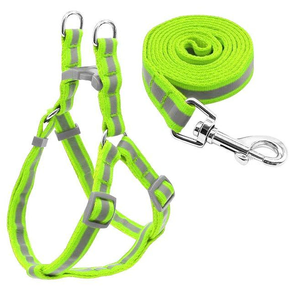 Nylon Reflective Dog Harness and Leash Set - Green