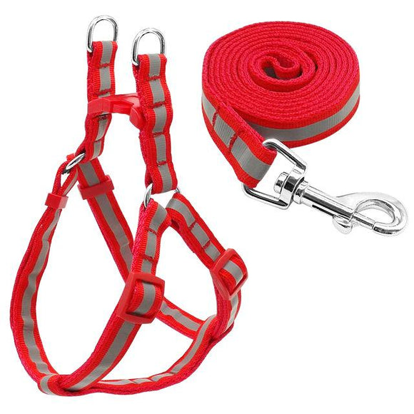 Nylon Reflective Dog Harness and Leash Set - Red