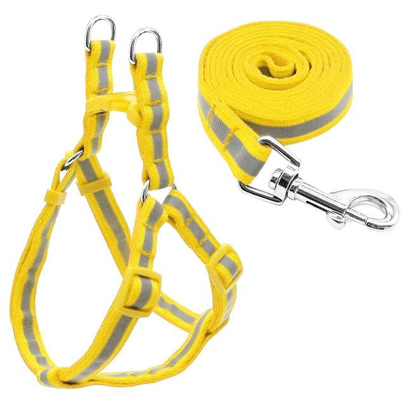 Nylon Reflective Dog Harness and Leash Set - Yellow