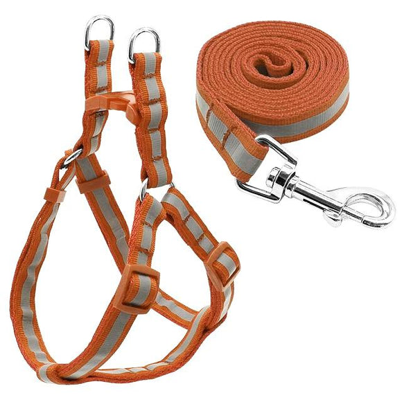 Nylon Reflective Dog Harness and Leash Set - Brown