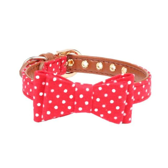 Red Polka Dot Bow Tie Collar (3 sizes)