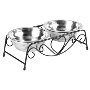Pet Feeding Bowls with Double Bowls and Heart Stand