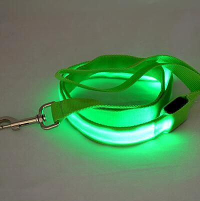 LED Dog Cat Lead Leash - Green