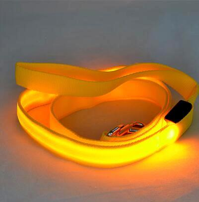 LED Dog Cat Lead Leash - Yellow