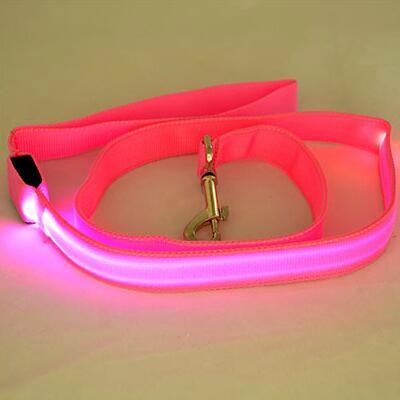 LED Dog Cat Lead Leash - Pink