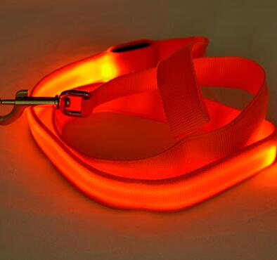 LED Dog Cat Lead Leash - Orange