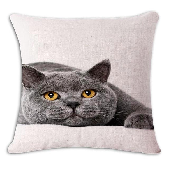 Happy Grey Cat Cushion Cover