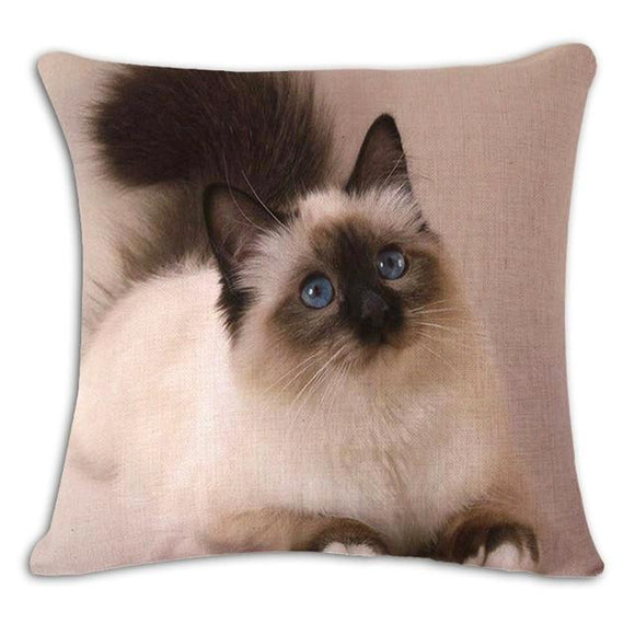 Meow Long Hair Cat Cushion Cover