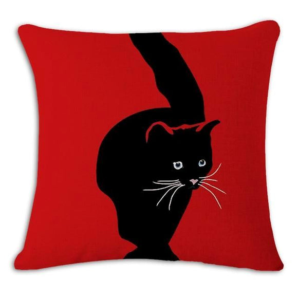Black Cat in Red Cushion Cover