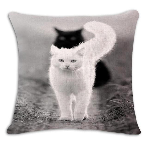 Two Cats in a Row Cushion Cover